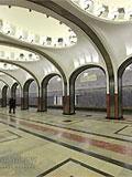 """Станция метро """"Маяковская"""". Станционный зал. Конструкция станционого зала уникальна."""
