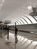 """Станция метро """"Митино"""". Перспективы станционного зала. Выход в город. Южный вестибюль станции."""