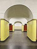 """Станция метро """"Рижская"""" станционный зал. Пилонная перспектива."""