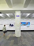 """Станция метро """"БЕГОВАЯ"""". Станция """"БЕГОВАЯ"""". Станционный зал. Опорные колонны станционного зала имеют оригинальную форму: у основания имеют восьмигранную форму, а к верхней части колонны переходят в четырёхгранник."""