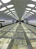 """Станция """"Нахимовский проспект"""". Станционный зал. Односводчатая просторная станция."""