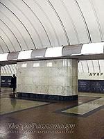 """Станция метро """"Дубровка"""".  Пол станционного зала выложен гранитом трёх цветов и образует строгий геометрический рисунок."""