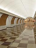 """Станция метро """"Парк Победы"""". Северный станционный зал. Мозаичное панно Героям Великой Отечественной."""