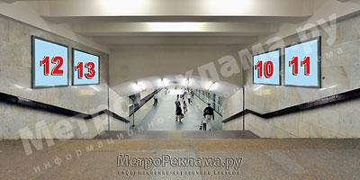 """Станция """"Бабушкинская"""". Северный подземный вестибюль станции. Лестница по входу/выходу пассажиров из станционного зала в подземный вестибюль. Хороший обзор при входе на станцию."""
