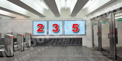 """Станция """"Бабушкинская"""". Южный подземный вестибюль станции. Несветовые щиты, рекламные места №№ 2, 3, 5. Хороший обзор по выходу пассажиров в город."""
