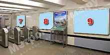 """Станция """"Бабушкинская"""". Северный подземный вестибюль станции. Несветовые щиты, рекламные места №№7, 8, 9. Хороший обзор по выходу пассажиров в город."""