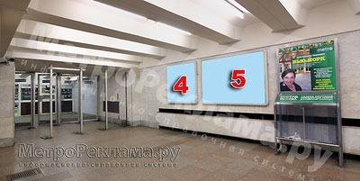 """Станция """"Ботанический сад"""". Севеный подземный вестибюль станции. Несветовые щиты, рекламные места №№ 4, 5. Хороший обзор по выходу пассажиров в город"""