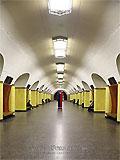 """Станция метро """"Рижская"""", станционный зал."""