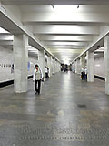 """Станция метро """"БЕГОВАЯ"""". Станция """"БЕГОВАЯ"""". Станционный зал. Станционный зал. Выход в город из последнего вагона при движении поезда из центра, южный подземный вестибюль."""