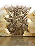 """Станция метро """"Шоссе Энтузиастов"""" станционный зал, Скульптурная композиция """"Пламя свободы"""" художник А. Н. Кузнецов."""