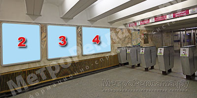 """Северный вестибюль станции  """"Марьино"""". Подземный вестибюль, несветовые щиты №2, 3, 4 по выходу пассажиров в город"""