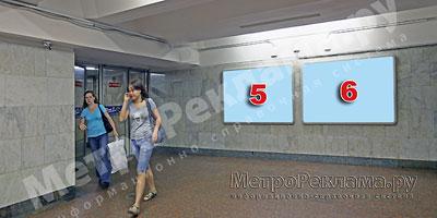 """Северный вестибюль станции  """"Марьино"""". Подземный вестибюль, несветовые щиты №5, 6 по выходу пассажиров в город"""